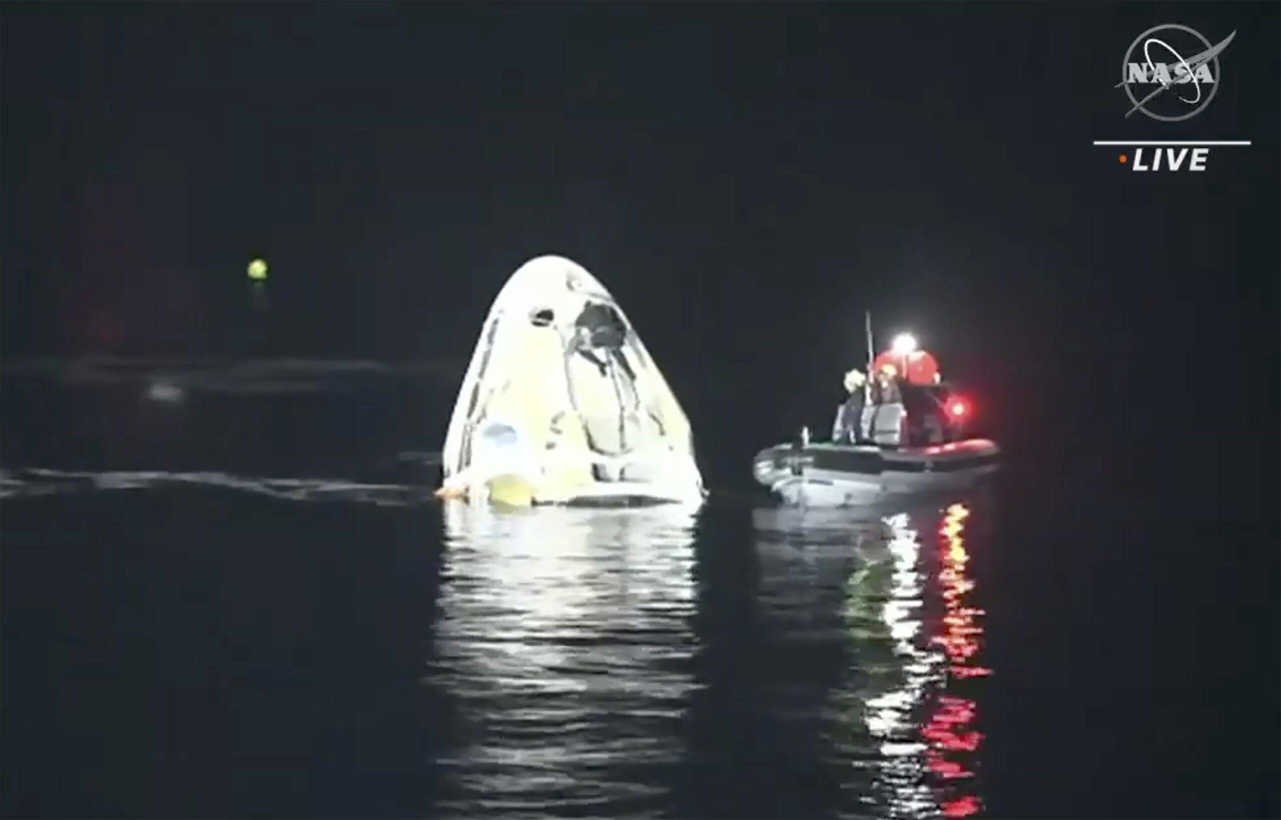 SpaceX Astronauts Night Splashdown